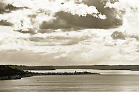 Puget Sound in Seattle in sepia