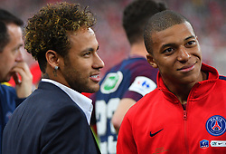 Paris Saint-Germain's Brazilian forward Neymar Jr and Kylian Mbappe during the French Cup final football match between Les Herbiers and Paris Saint-Germain (PSG), on May 8, 2018 at the Stade de France in Saint-Denis, outside Paris. Paris Photo by Christian Liewig/ABACAPRESS.COM