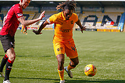 Dolly Menga of Livingstone with the ball in the corner during the Ladbrokes Scottish Premiership match between Livingston and St Mirren at Tony Macaroni Arena, Livingstone, Scotland on 20 April 2019.