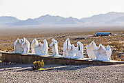 Public sculpture called The Last Supper at the open air museum in Goldwell, NV.
