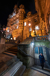 Night view of the Scotsman Building and adjacent Scotsman Steps in Edinburgh Old town, Scotland, UK