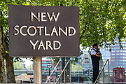 A MET Police Officer is seen outside New Scotland Yard in London, Britain, Wednesday, May 20, 2020. (Photo/ Vudi Xhymshiti)