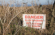 Sign warning of danger cliff erosion, Covehithe, Suffolk, England