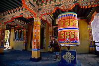 Prayer wheels at the Ta Dzong (National Museum of Bhutan), Paro, Bhutan