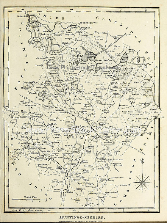 Ancient map of Huntingdonshire [Historic county in England] Copperplate engraving From the Encyclopaedia Londinensis or, Universal dictionary of arts, sciences, and literature; Volume X;  Edited by Wilkes, John. Published in London in 1811