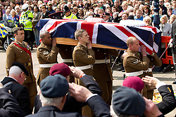 © licensed to London News Pictures. Huddersfield, UK  02/05/2012. The funeral of Private Anthony Frampton of the 3rd Battalion The Yorkshire Regiment at Huddersfield Parish Church. The Private, also known as Anton, was killed alongside five colleagues by a roadside IED in Afghanistan. Photo credit should read Joel Goodman/LNP