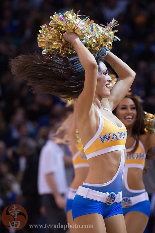 February 4, 2015; Oakland, CA, USA; Golden State Warriors Dance Team dancer Rachel Lilly performs during the fourth quarter against the Dallas Mavericks at Oracle Arena. The Warriors defeated the Mavericks 128-114.