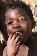 Africa, Tanzania, Lake Eyasi, young male Hadza child. Hadza, or Hadzabe, are an indigenous ethnic group in north-central Tanzania, living around Lake Eyasi in the central Rift Valley and in the neighboring Serengeti Plateau