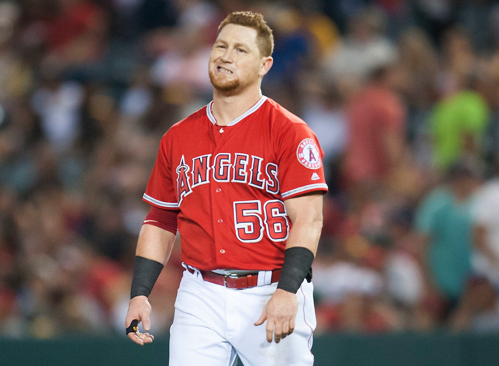 The Angels' Kole Calhoun grimaces after grounding out to second to end the seventh inning during the Angels' 5-4 loss to the Oakland Athletics at Angel Stadium on Thursday.<br /> <br /> ///ADDITIONAL INFO:   <br /> <br /> angels.0624kjs  ---  Photo by KEVIN SULLIVAN / Orange County Register  --  6/23/16<br /> <br /> The Los Angeles Angels take on the Oakland Athletics Thursday at Angel Stadium.<br /> <br /> <br />  6/23/16