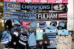 Scarves for sale outside the Etihad Stadium