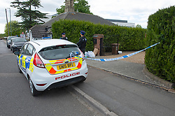 ©Licensed to London News Pictures 14/05/2020<br /> Dartford, UK. Two police officers stand guard at a police cordon. Police have launched a murder investigation after a man was found this morning stabbed to death in Dartford, Kent.  Photo credit: Grant Falvey/LNP
