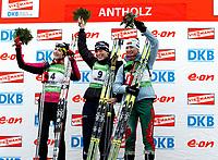 Skikskyting<br /> Verdenscup / World Cup<br /> Anterselva Italia<br /> 23.01.2011<br /> Foto: Gepa/Digitalsport<br /> NORWAY ONLY<br /> <br /> IBU Weltcup, 12,5km Massenstart der Damen. <br /> Bild zeigt den Jubel von Marie Laure Brunet (FRA), Tora Berger (NOR) und Darya Domracheva (BLR).