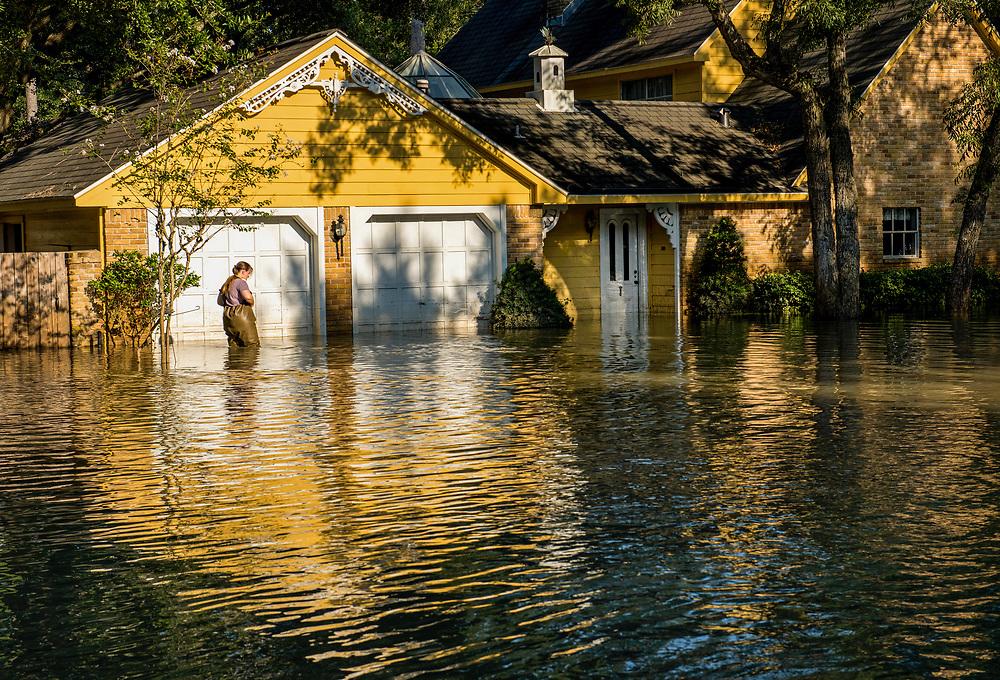 Hurricane Harvey flooded this neighborhood on the west side near Buffalo Bayou, Houston, Texas