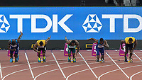 Athletics - 2017 IAAF London World Athletics Championships - Day Two, Evening Session<br /> <br /> Mens 100m Final <br /> <br /> The main contenders for the title leave their blocks at the start of the 100m mens final at the London Stadium<br /> <br /> COLORSPORT/DANIEL BEARHAM