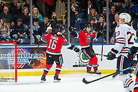 KELOWNA, BC - NOVEMBER 16:  Dillon Hamaliuk #22 and Michael Farren #16 of the Kelowna Rockets celebrate a first period goal against the Kamloops Blazers at Prospera Place on November 16, 2019 in Kelowna, Canada. (Photo by Marissa Baecker/Shoot the Breeze)