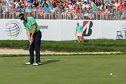 August 5, 2018 - Akron, Ohio, United States - Justin Thomas putts the 18th green during the final round of the WGC-Bridgestone Invitational at Firestone Country Club. (Credit Image: © Debby Wong via ZUMA Wire)