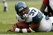 Seattle Seahawks running back Shaun Alexander looks towards the sideline after being tackled during the Seattle Seahawks 23-7 victory over the Tampa Bay Buccaneers on December 31, 2006 at Raymond James Stadium in Tampa, Florida.