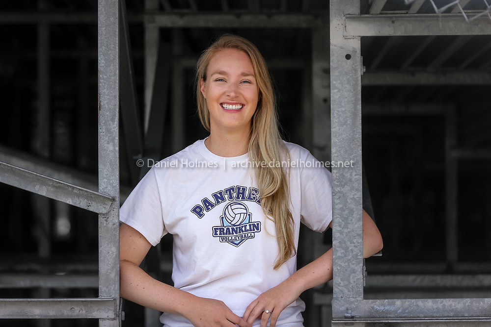 (7/23/20, FRANKLIN, MA) Franklin High's new volleyball coach Samantha Elliott poses for photo at Franklin High School on Thursday. [Daily News and Wicked Local Photo/Dan Holmes]