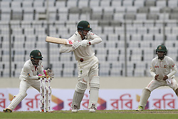 August 28, 2017 - Mirpur, Bangladesh - Australia's Pat Cummins plays a shot  during day two of the First Test match between Bangladesh and Australia at Shere Bangla National Stadium on August 28, 2017 in Mirpur, Bangladesh. (Credit Image: © Ahmed Salahuddin/NurPhoto via ZUMA Press)
