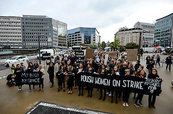 October 3, 2016 - Brussels, Bxl, Belgium - Polish women hold the Black Protest ( Czarny Protest )  against planned ban on abortion. About 500 Polish workers of EU institutions gathered at European quarters in Brussels, Belgium on 03.10.2016 to demonstrata against  an effort to criminalize abortion in Poland  by Wiktor Dabkowski (Credit Image: © Wiktor Dabkowski via ZUMA Wire)