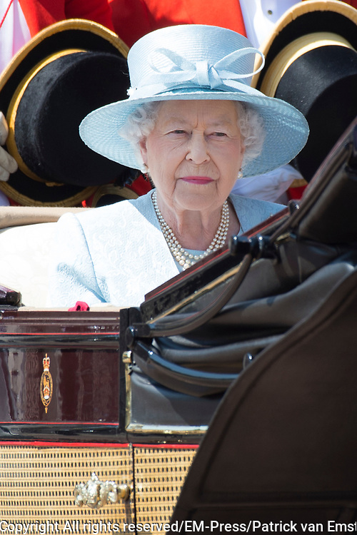 Trooping the Colour is a ceremony performed by regiments of the British and Commonwealth armies and as also marked the official birthday of the British sovereign, Queen Elizabeth.It is held in London annually on a Saturday in June on Horse Guards Parade by St. James's Park<br /> <br /> On the photo:  Queen Elizabeth