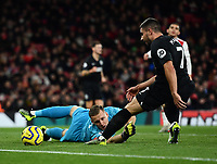 Football - 2019 / 2020 Premier League - Arsenal vs. Brighton & Hove Albion<br /> <br /> Arsenal's Bernd Leno looks on as Brighton & Hove Albion's Adam Webster (hidden) scores the opening goal, at The Emirates.<br /> <br /> COLORSPORT/ASHLEY WESTERN