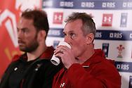 Wales coach Robert Howley and capt Alun Wyn Jones (l) speak to the media at the Wales Rugby team announcement press conference at the Vale Resort, Hensol near Cardiff, South Wales on Thursday 2nd Feb 2017.  The team are preparing for the the RBS Six nations match against Italy.  pic by  Andrew Orchard, Andrew Orchard sports photography.