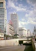 CBD buildings and roads downtown city centre of Sao Paulo, Brazil, South America 1962