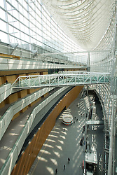 Asia, Japan, Tokyo, steel truss and glass interior of The Tokyo International Forum, an exhibition and concert hall and conference center designed by architect Rafael Viñoly and completed in 1996