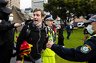 Police arrest BLM Rally organiser Paddy Gibson during the Black Lives Matter rally. This event was organised to rally against black deaths in custody in Australia as well as George Floyd, an unarmed black man killed at the hands of a police officer in Minneapolis, Minnesota and David Dungay who died in custody at Long Bay prison in Sydney. (Photo by Pete Dovgan/ Speed Media)