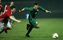 Andraz Kirm (19) of Slovenia and William Kvist (6) of Denmark during the UEFA Friendly match between national teams of Slovenia and Denmark at the Stadium on February 6, 2008 in Nova Gorica, Slovenia. Slovenia lost 2:1. (Photo by Vid Ponikvar / Sportal Images).