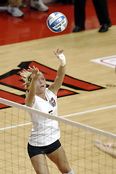 24 November 2006: Katelyn Panzau sets up a kill.during a Quarterfinal match between the Evansville University Purple Aces and the Missouri State University Bears.The Tournament was held at Redbird Arena on the campus of Illinois State University in Normal Illinois.<br />