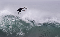 May 13, 2019 - Newport Beach, California, U.S. - A bodyboarder bails out of a wave at the Wedge in Newport Beach on Monday. Waves in the 10-12 foot range were starting to hit and expected to continue for the next couple days. (Credit Image: © Paul Bersebach/SCNG via ZUMA Wire)