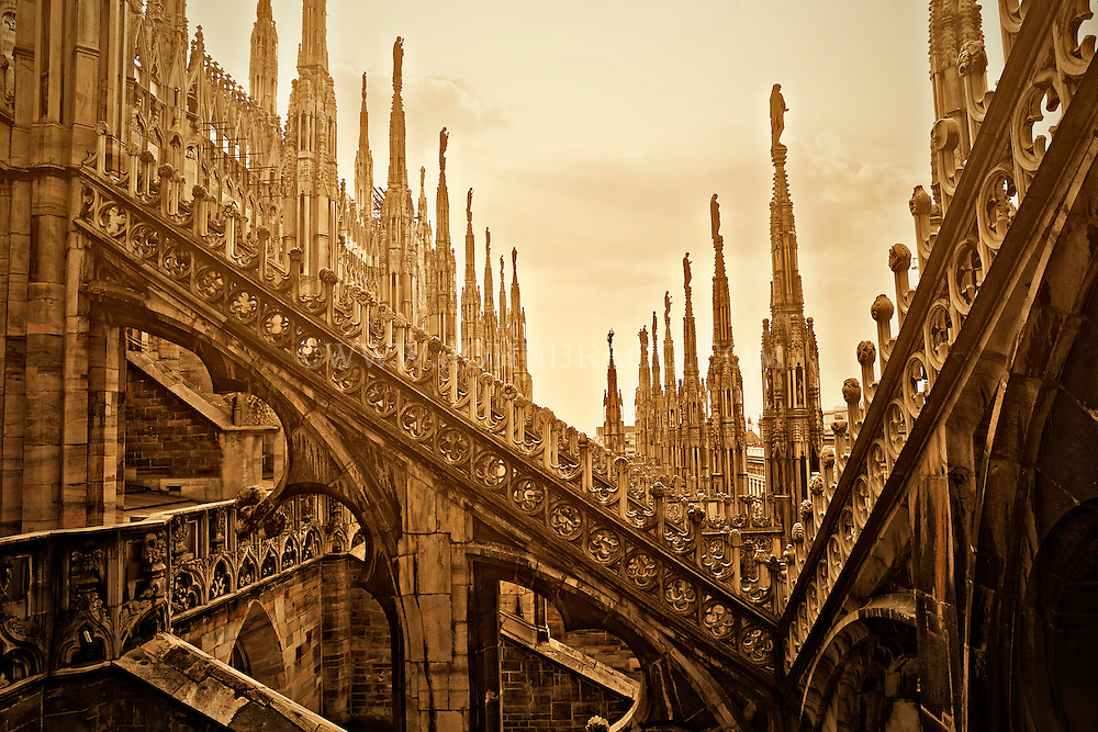 Photo of a rooftop view of the Duomo Cathedral, Milan, Italy