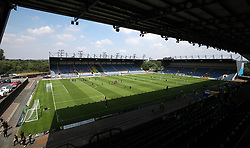 A general view of warming up during a pre season friendly match at The Kassam Stadium, Oxford