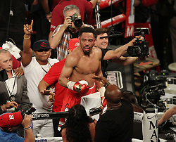 June 17, 2017 - Las Vegas, Nevada, United States of America - WBA, WBC and IBF  Light Heavyweight Boxing Champion Andre Ward celebrates  after stopping challenger Sergey Kovalev in the  8th round of their rematch on June 17, 2017 at Mandalay Bay Events Center  in  Las Vegas, Nevada. (Credit Image: © Marcel Thomas via ZUMA Wire)
