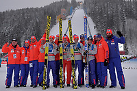 Hopp , BAD MITTERNDORF,AUSTRIA,17.JAN.16 - NORDIC SKIING, SKI JUMPING, SKI FLYING - FIS World Championships, Kulm, team, . Image shows Kenneth Gangnes, Daniel Andre Tande, Johann Andre Forfang, Anders Fannemel (NOR) and the team of Norway. Norway only