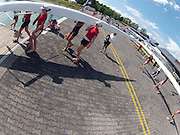 Munich, GERMANY,  General Views, GV's,  CAN W8+ Boathouse and  Boating Area,   Boating for a training session.  2012 World Cup III on the Munich Olympic Rowing Course,  Thursday   14/06/2012. [Mandatory Credit Peter Spurrier/ Intersport Images]..