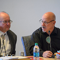 County Manager Bill Lee moderates the County Commission meeting held in Gallup Tuesday. Lee will be stepping down from his position as County Manager May 13.