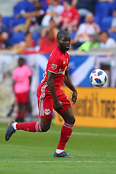 May 26, 2018 - Harrison, NJ, U.S. - HARRISON, NJ - MAY 26:   New York Red Bulls defender Kemar Lawrence (92) controls the ball during the first half of the Major League Soccer Game between the New York Red Bulls and the Philadelphia Union on May 26, 2018, at Red Bull Arena in Harrison, NJ.  (Photo by Rich Graessle/Icon Sportswire) (Credit Image: © Rich Graessle/Icon SMI via ZUMA Press)