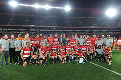 070418 Emirates Airlines Park, Ellis Park, Johannesburg, South Africa. Super Rugby. Lions vs Stormers. The full Lions team and support crew pose for a team photo after beating the Stormers 52-31.<br />Picture: Karen Sandison/African News Agency (ANA)
