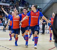 ROTTERDAM  - NK Zaalhockey . finale heren: SCHC-Amsterdam (2-2, SCHC wint shoot-outs) . Vreugde bij SCHC na het behalen van de titel. Thomas Vis (SCHC), Thijs van Pelt (SCHC) , Roderick Tam (SCHC) COPYRIGHT KOEN SUYK