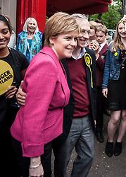 SNP leader Nicola Sturgeon joins candidate Jim Eadie on a visit to the Victor Hugo Deli in the battleground seat of Edinburgh South.<br /> <br /> © Dave Johnston/ EEm