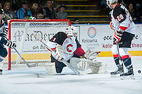 KELOWNA, CANADA - OCTOBER 23: Mack Shields #1 of Prince George Cougars makes a save against the Kelowna Rockets on October 23, 2015 at Prospera Place in Kelowna, British Columbia, Canada.  (Photo by Marissa Baecker/Shoot the Breeze)  *** Local Caption *** Mack Shields;