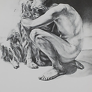 """Title: Here<br /> Artist: Irene Tokareva<br /> Date: 2017<br /> Medium: Lithograph<br /> Dimensions: 27 x 35""""<br /> Instructor: Terri Goodhue<br /> Awards: 1st Place in Printmaking – 41st Annual Student Art Exhibition<br /> Status: On loan<br /> Location: Highland Testing Center, HLC 1000, 2221"""