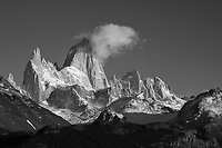 Single cloud clinging to the summit of Fitz Roy, Los Glaciares National Park, Argentina (black and white)