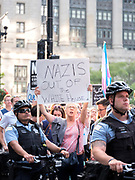 An Anti-Trump demonstration in Chicago following President Trump's remarks earlier in the afternoon at Trump Tower in New York City regarding the Charlottesville, Virginia riots and demonstrations the prior weekend