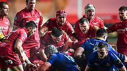 Scarlets players celebrate wining a last minute penalty<br /> <br /> Photographer Craig Thomas/Replay Images<br /> <br /> Guinness PRO14 Round 17 - Scarlets v Leinster - Friday 9th March 2018 - Parc Y Scarlets - Llanelli<br /> <br /> World Copyright © Replay Images . All rights reserved. info@replayimages.co.uk - http://replayimages.co.uk