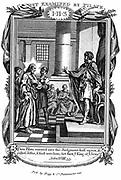 Pontius Pilate (dc36) Roman governor of Jerusalem, asking Jesus 'Art thou the King of the Jews?'.  'Bible' John 18.33.  Copperplate engraving c1808