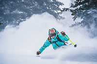Wasatch Range storm skiing, Malil Noyes laps it up in Utah's backcountry.